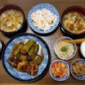 【家ごはん/献立】 椎茸の肉詰め煮♪ [レシピ] 柿のクリーミー白和え / なめ茸 / キノコの酸辣湯