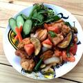 揉んで焼くだけで絶品♪夏野菜と鶏肉の照り焼きチキン♡ と 初めての…。