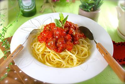 驚愕♡カップラーメンより早い!?本格的な煮込みトマトのパスタ《簡単*時短*作り置き*アレンジ》
