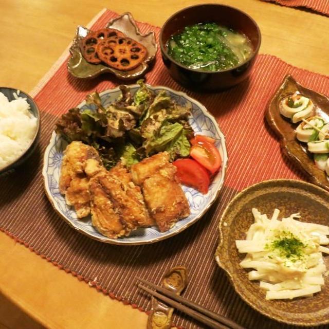鯖の竜田揚げなどの晩ご飯 と 原種のシクラメン♪
