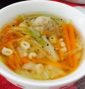 ABCマカロニ入り*肉団子野菜スープ