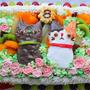 ぴよ三郎*8歳の誕生日ケーキはうちのにゃんこ達✳制作過程画像付き