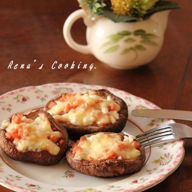 菜の花が満開。そして今日は「ウィンナーと2種のチーズ入り焼きしいたけ」。