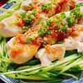 茹でささみの梅ソース(動画レシピ)/Boiled chicken breast fillet. by みすずさん