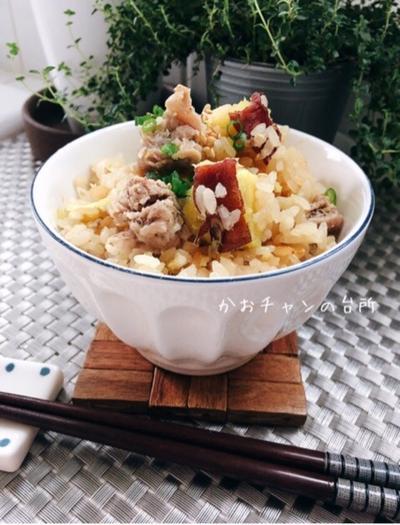 [LIMIA]さつまいもと豚肉の炊き込みご飯。*炊き込みご飯レシピ*