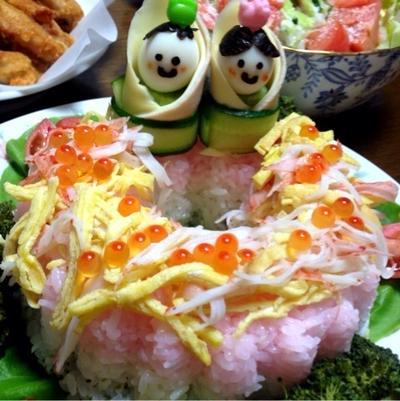 もうすぐ桃の節句「おひなさま♡ちらし寿司ケーキ」