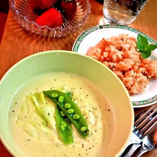 レタスとスナップえんどうのスープ ~ お手製チキンストックで♪