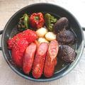 トースターで簡単椎茸、にんにく、ピーマン、ウインナー、トマトのアヒージョ