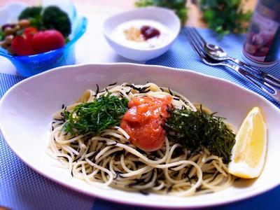 ひじき入り明太子スパゲッティ & 最近の晩ご飯は・・
