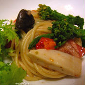 *オレガノとバルサミコ酢の菜の花パスタ