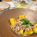 【肉味噌あん料理①】かぼちゃの塩麹煮 肉味噌あんたっぷりかけて