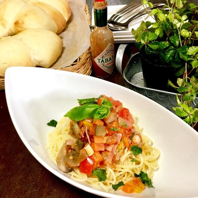 暑い日は火を使わない炊飯器料理 夏野菜パスタ