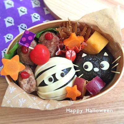 ハロウィン弁当★黒猫ちゃん&ミイラ♫