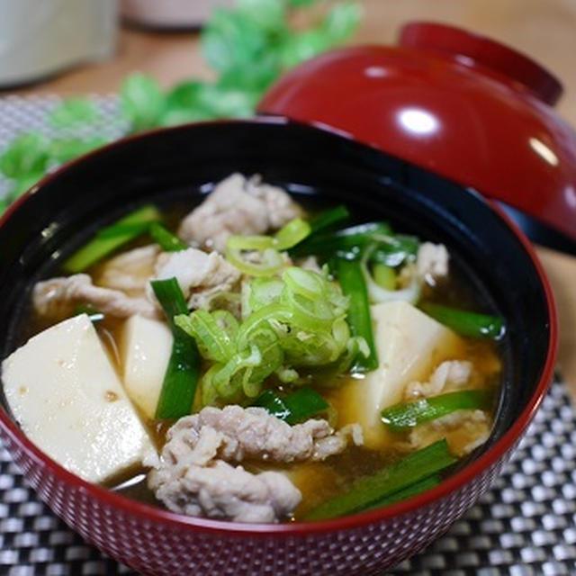 豚肉とニラと豆腐の味噌汁と 6種おでん