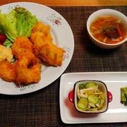 大粒牡蠣みっけ☆ゆで鶏とキャベツのピリ辛胡麻酢和え♪☆♪☆♪