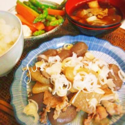 玉蒟蒻と豚肉の炒め煮