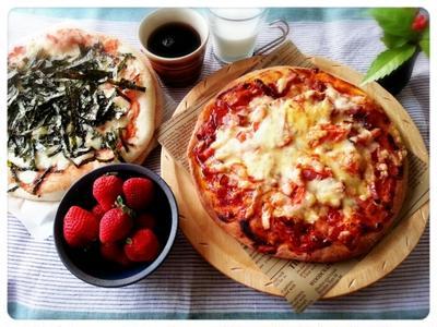 今朝はちょっぴり時間がな~い・・・ってことでピザモーニング~♪(*´з`)