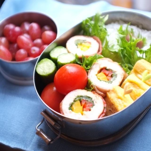 息子の☆野菜の鶏肉ベーコン巻き弁当♪ ☆生で長持ち!もやしの保存方法☆