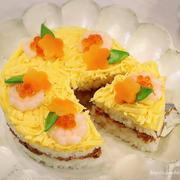 春のお祝いに♡ギュギュ♪と詰めるだけ‼︎【簡単】寿司ケーキ