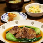 ゆで豚とチンゲン菜の中華あん。晩ごはん。