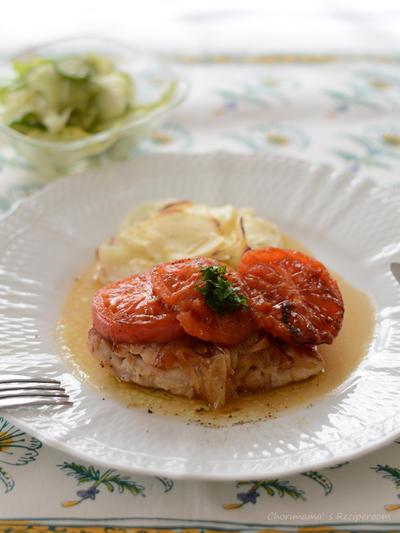 具とソースに-焼きトマトチキン。じゃがいものグラタン。の晩ごはん。
