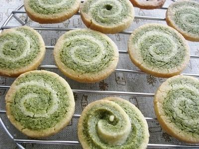 卵アレルギー対応@緑茶の渦巻きクッキー