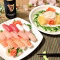 握り寿司と野菜バラのリーフ