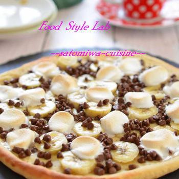 ふんわりピザ生地にチョコとマシュマロをのせて♡スイーツピザ♡