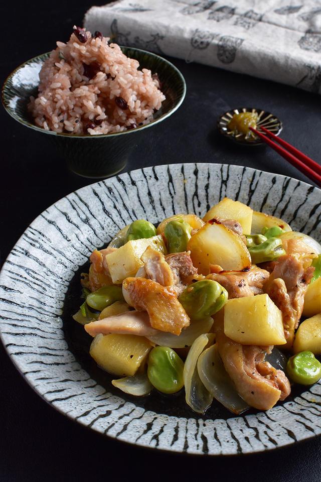 春野菜とチキンの和風レモン炒め