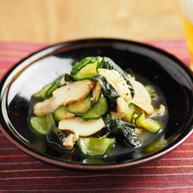 サラダチキンの酢の物、鶏むね肉のレモンしょう油蒸し