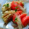 焼き茄子とトマトの白ネギ生姜漬けサラダ