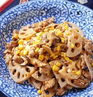 レンコンとひき肉のうま煮炒め