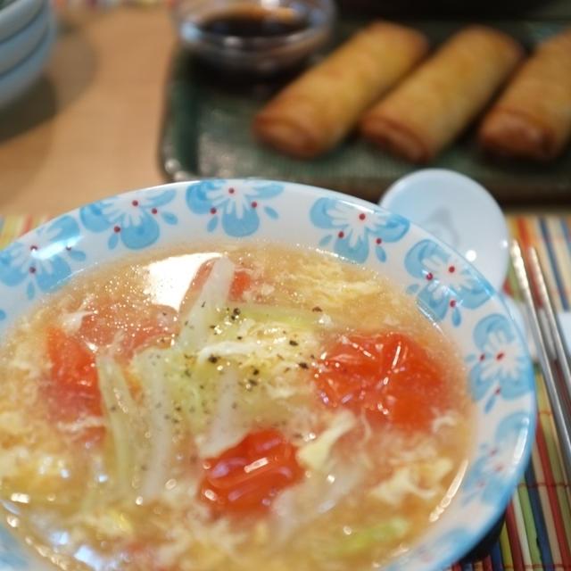 キャベツとミニトマトの酸辣湯(サンラータン)風