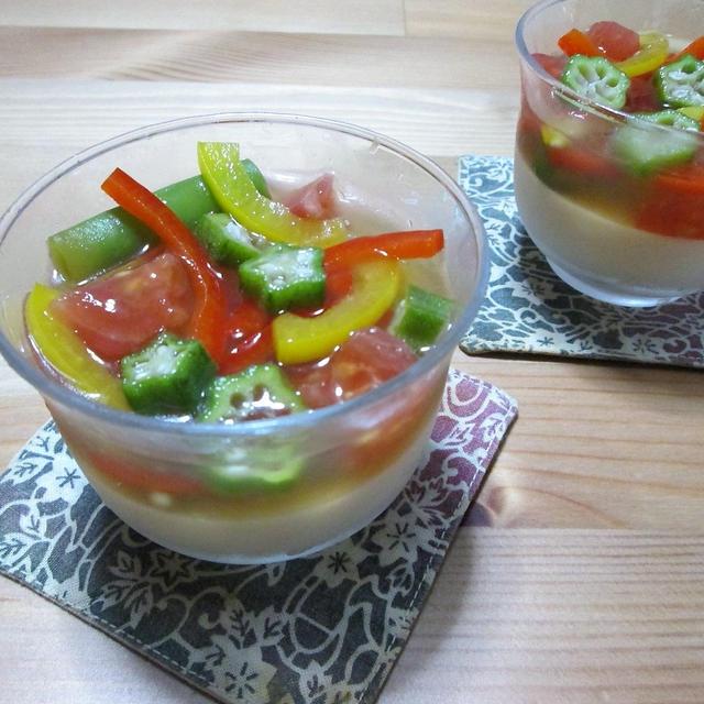 食べて美味しい♪見て楽しい♪ 胡麻豆腐と彩り野菜のゼリー寄せ