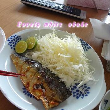 塩鯖とサンマ どっちがいい? あるもので頑張ろうね、定食。。