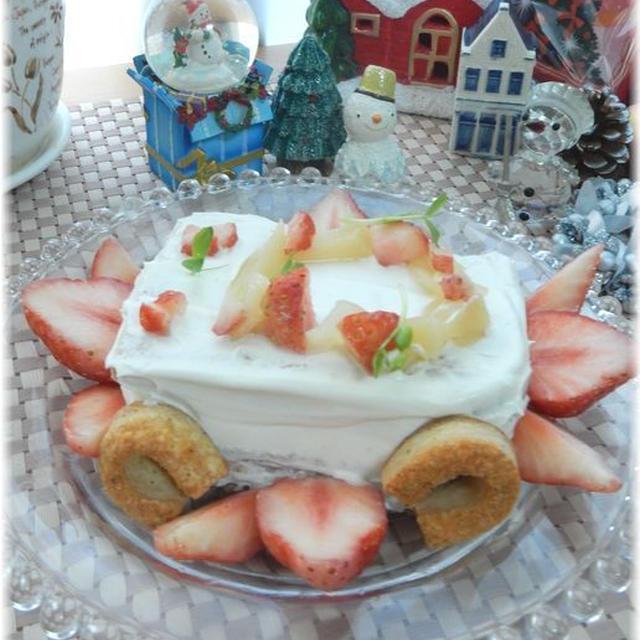 ケーキのようなホットケーキミックスdeクリスマスデコレーションケーキ♪