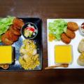 【家ごはん/献立】 おにぎり ワンプレート [レシピ] 焼きもろこしご飯 / ピクルス / 人参とカボチャのカレー風味ポタージュスープ