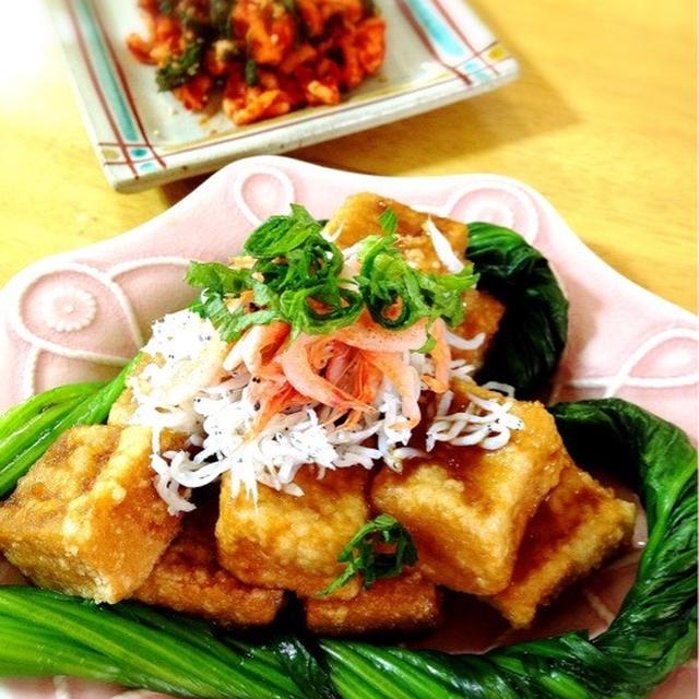 ハートの揚げ出し高野豆腐。切り干しキムチの荏胡麻和え。