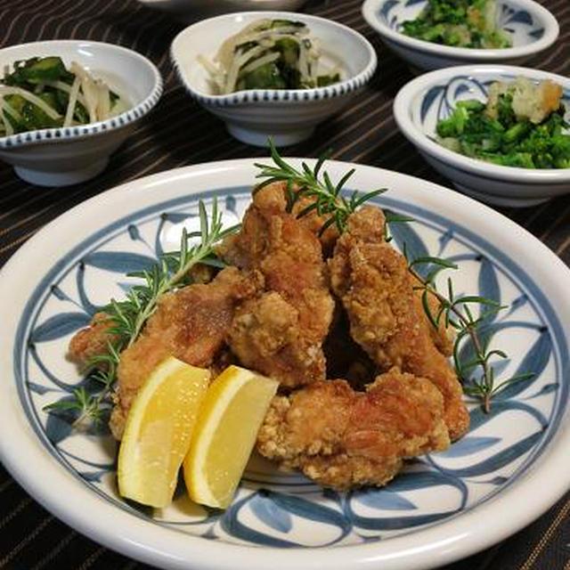鶏もも肉のスパイス揚げとごく間に合わせの小鉢2品