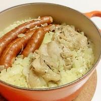 鶏とウインナーのサフラン風味ピラフ