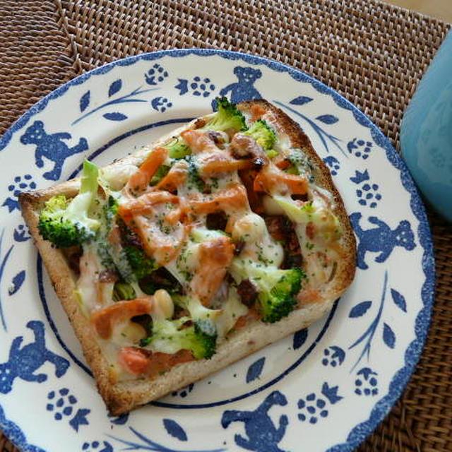 ブロッコリー&大豆のタラコチーズトースト
