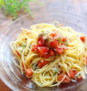 大葉香る♪しらすとトマトの冷製パスタ
