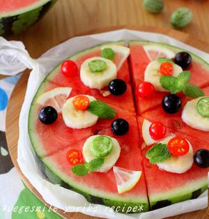 すいかピザ!夏のパーティにぴったり!!