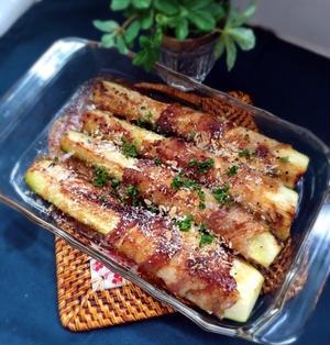 ズッキーニの肉巻きパン粉焼き。