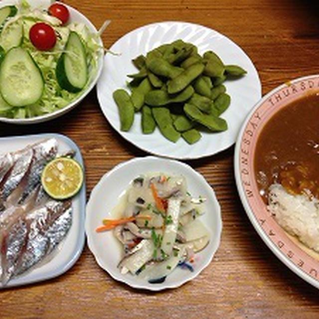 魚メインの晩ご飯。ねぎ昆布うどん。リラックマ好き