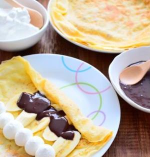 ココアきな粉クリームがけバナナ入りクレープのレシピ
