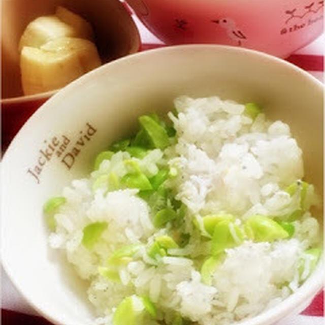 269日目-1 ご飯60g+えだまめ5g+しらす5g+野菜ペースト&スープ+豆乳+バナナ