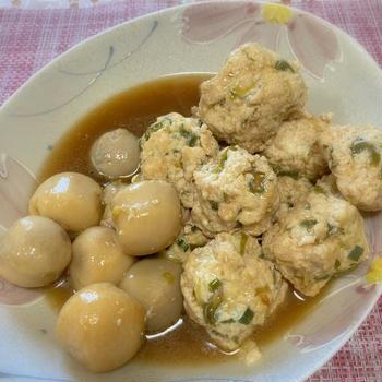 豆腐入り鶏だんごと里いもの煮物、チワワ、ハンドメイド