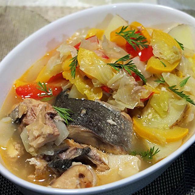 鮭と野菜のスープ煮、レモン風味