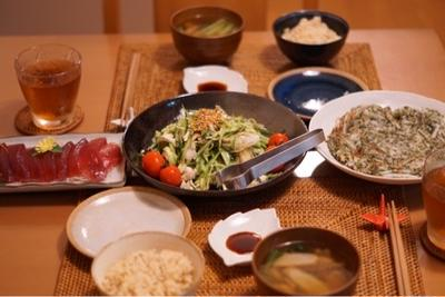 ミョウガがポイント♡ササミでヘルシーさっぱりサラダ♡と昨日の夕ご飯